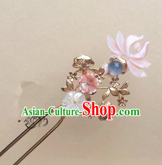 Traditional Handmade Chinese Ancient Classical Hair Accessories Pink Lotus Hair Clip Hairpins for Women