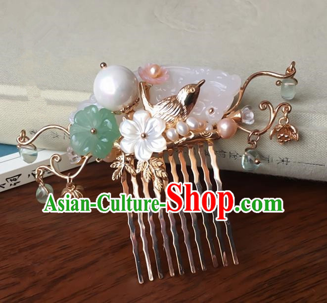 Traditional Handmade Chinese Ancient Classical Hair Accessories Jade Hair Comb Hairpins for Women