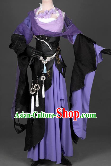 Chinese Ancient Costume Cosplay Swordswoman Purple Dress Hanfu Clothing for Women
