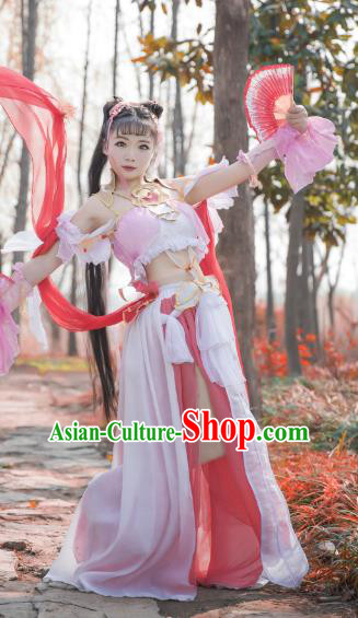 Chinese Ancient Swordswoman Costume Cosplay Female Knight-errant Pink Dress Hanfu Clothing for Women