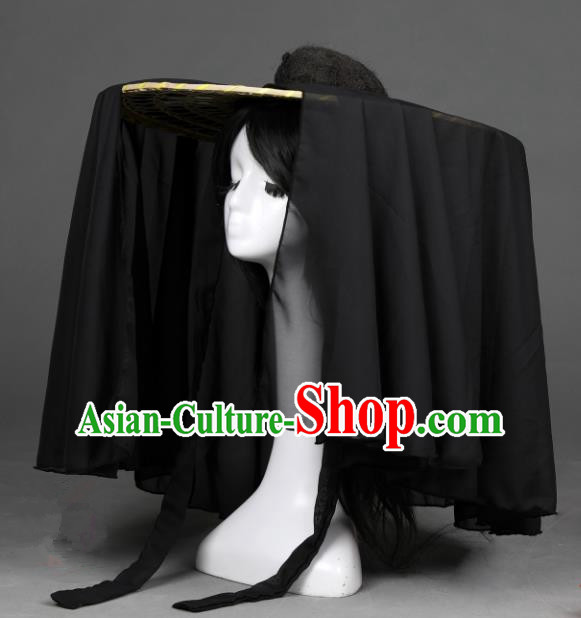 Traditional Handmade Chinese Ancient Swordswoman Hats Black Veil Bamboo Hat for Women