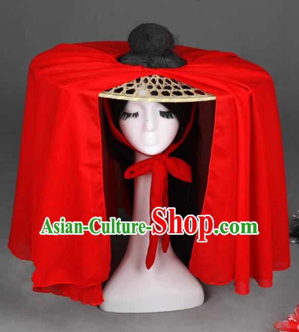 Traditional Handmade Chinese Ancient Swordswoman Hats Red Veil Bamboo Hat for Women