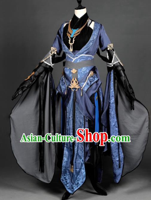 Chinese Ancient Taoist Nun Costume Cosplay Female Knight-errant Dress Hanfu Clothing for Women