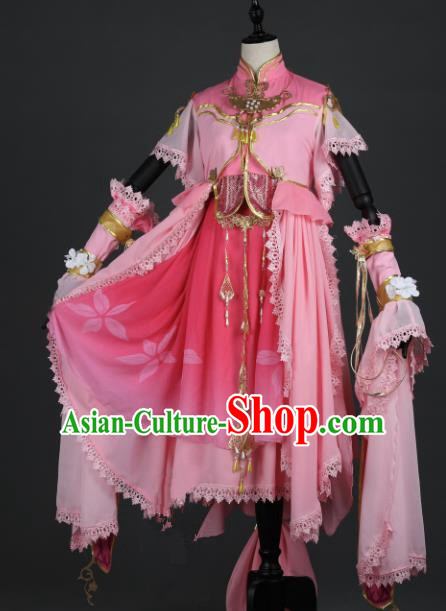 Chinese Ancient Female Knight-errant Heroine Costume Cosplay Swordswoman Pink Dress Hanfu Clothing for Women