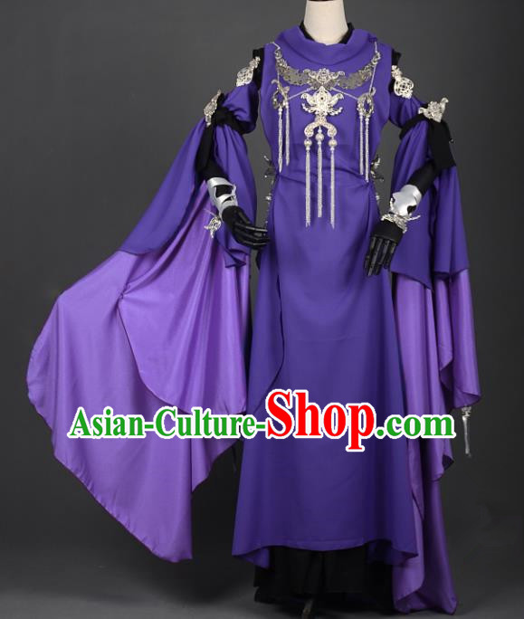 Chinese Ancient Female Knight-errant Purple Costume Cosplay Swordswoman Dress Hanfu Clothing for Women