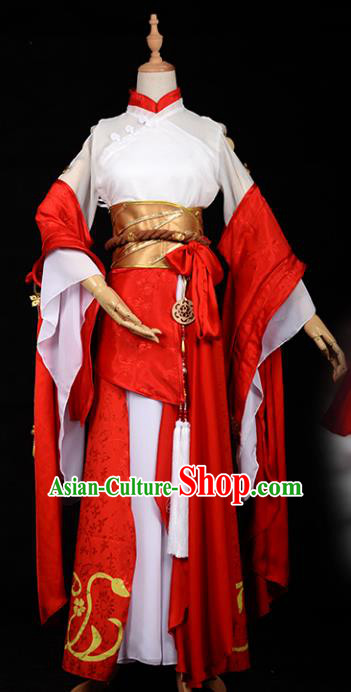Chinese Ancient Princess Red Costume Cosplay Swordswoman Dress Hanfu Clothing for Women