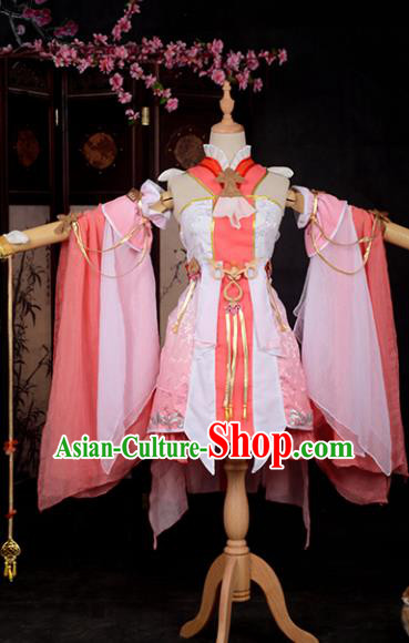 Chinese Ancient Princess Young Lady Costume Cosplay Swordswoman Pink Dress Hanfu Clothing for Women