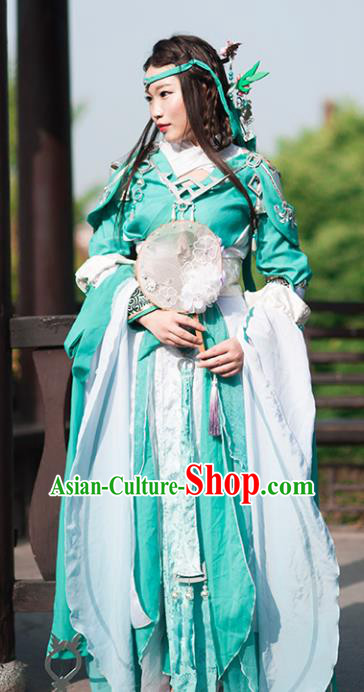 Chinese Ancient Young Lady Costume Cosplay Swordswoman Green Dress Hanfu Clothing for Women