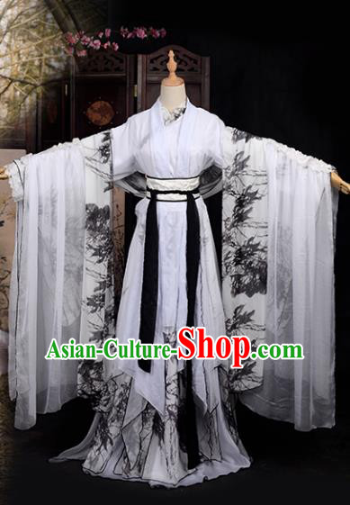 Chinese Ancient Palace Lady Printing Bamboo Costume Cosplay Princess Swordswoman Dress Hanfu Clothing for Women