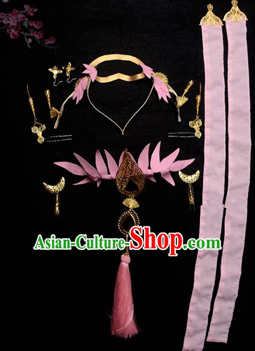 Traditional Handmade Chinese Hair Accessories Ancient Swordswoman Hairpins Pink Headband Complete Set for Women