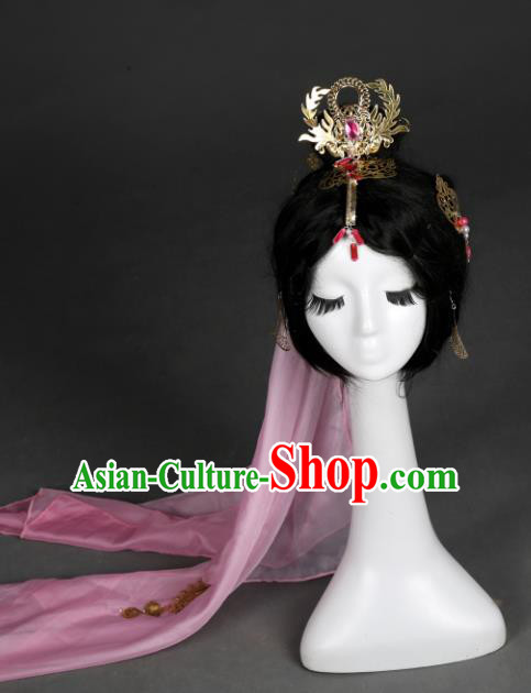 Traditional Handmade Chinese Hair Accessories Ancient Swordswoman Hairpins Veil Headwear for Women
