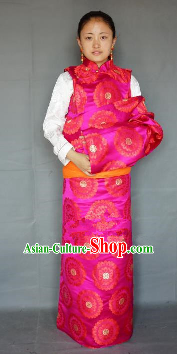 Chinese Traditional Zang Nationality Rosy Brocade Tibetan Robe, China Tibetan Ethnic Heishui Dance Costume for Women