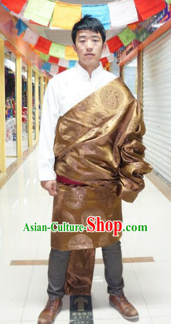 Chinese Traditional Zang Nationality Golden Tibetan Robe, China Tibetan Ethnic Heishui Dance Costume for Men