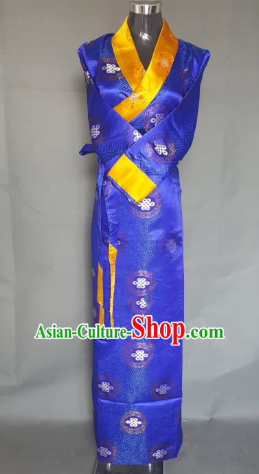 Chinese Traditional Zang Nationality Royalblue Brocade Dress, China Tibetan Ethnic Heishui Dance Costume for Women