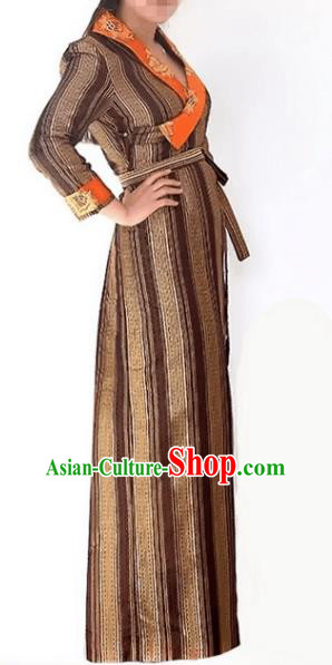Chinese Traditional Zang Nationality Coffee Dress, China Tibetan Ethnic Heishui Dance Costume for Women
