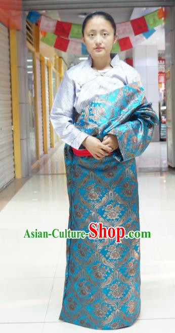 Chinese Zang Nationality Blue Brocade Tibetan Robe, China Traditional Tibetan Ethnic Heishui Dance Costume for Women
