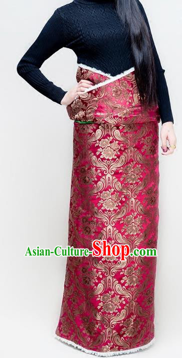 Chinese Zang Nationality Rosy Brocade Tibetan Robe, China Traditional Tibetan Ethnic Heishui Dance Costume for Women