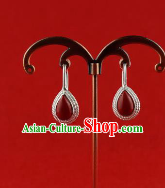 Chinese Traditional Zang Nationality Earrings Jewelry Accessories, China Tibetan Ethnic Eardrop for Women