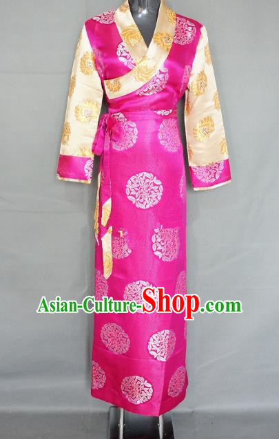 Chinese Zang Nationality Rosy Brocade Tibetan Dress, China Traditional Tibetan Ethnic Heishui Dance Costume for Women