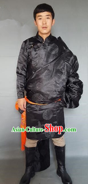Chinese Traditional Zang Nationality Black Tibetan Robe, China Tibetan Ethnic Heishui Dance Costume for Men