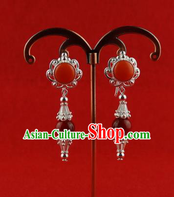 Chinese Traditional Zang Nationality Jewelry Accessories Earrings, China Tibetan Ethnic Red Eardrop for Women
