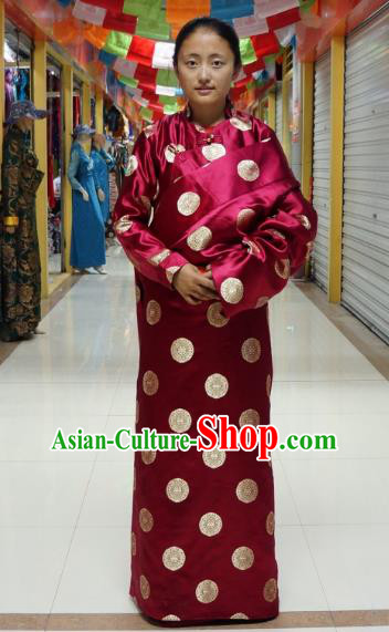 Chinese Zang Nationality Wine Red Tibetan Robe, China Traditional Tibetan Ethnic Heishui Dance Costume for Women