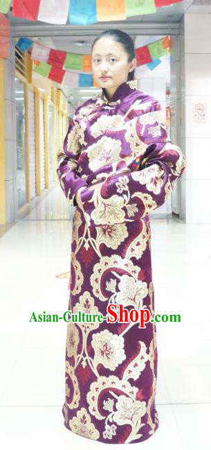 Chinese Zang Nationality Purple Brocade Tibetan Robe, China Traditional Tibetan Ethnic Heishui Dance Costume for Women