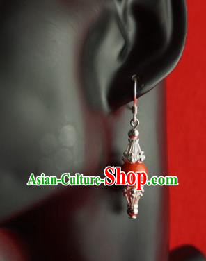 Chinese Traditional Zang Nationality Jewelry Accessories Sliver Earrings, China Tibetan Ethnic Red Bead Eardrop for Women