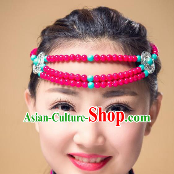 Traditional Chinese Mongol Nationality Hair Accessories, Mongolian Minority Rosy Beads Headwear for Women