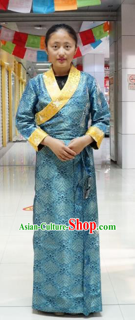 Chinese Zang Nationality Navy Tibetan Dress, China Traditional Tibetan Ethnic Heishui Dance Costume for Women