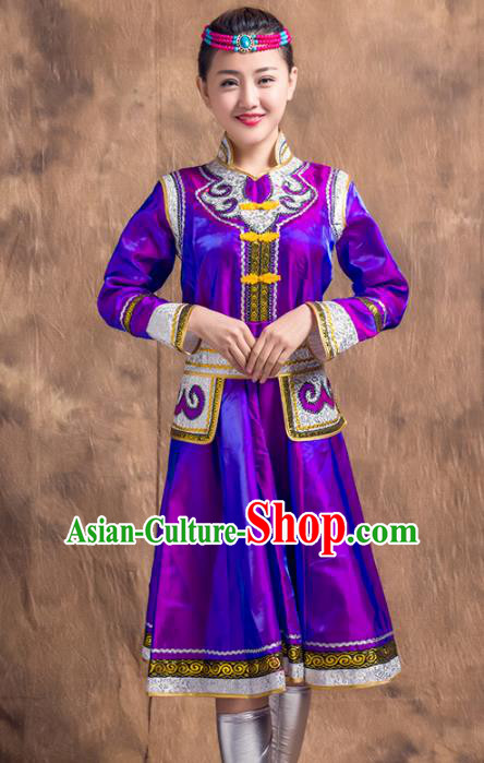 Traditional Chinese Mongol Nationality Costume, Mongolian Female Folk Dance Purple Dress Clothing for Women