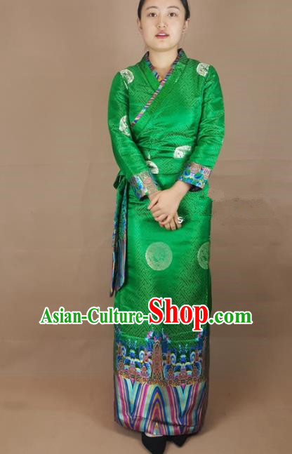 Chinese Zang Nationality Green Brocade Dress, China Traditional Tibetan Ethnic Heishui Dance Costume for Women