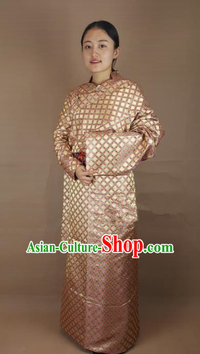 Chinese Zang Nationality Folk Dance Golden Brocade Tibetan Robe, China Traditional Tibetan Ethnic Costume for Women