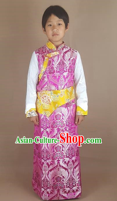 Chinese Traditional Zang Nationality Children Pink Tibetan Robe, China Tibetan Ethnic Heishui Dance Costume for Kids