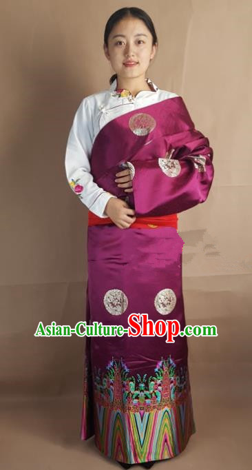 Chinese Zang Nationality Folk Dance Purple Brocade Tibetan Robe, China Traditional Tibetan Ethnic Costume for Women