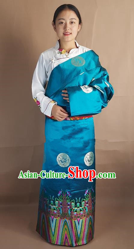 Chinese Zang Nationality Folk Dance Peacock Blue Brocade Tibetan Robe, China Traditional Tibetan Ethnic Costume for Women