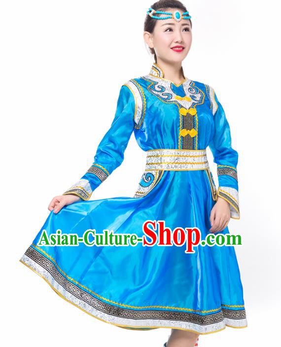 Traditional Chinese Mongol Nationality Costume, Mongolian Female Folk Dance Blue Dress Clothing for Women