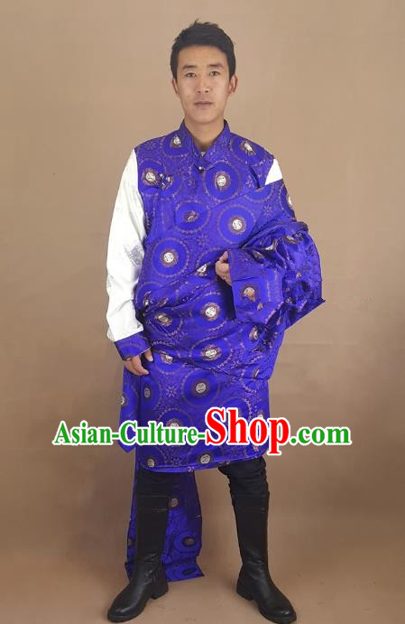 Chinese Traditional Zang Nationality Royalblue Tibetan Robe, China Tibetan Ethnic Folk Dance Costume for Men