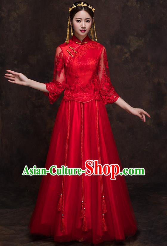 Chinese Traditional Wedding Red Lace Costume Ancient Bride Embroidered Xiuhe Suit Full Dress for Women