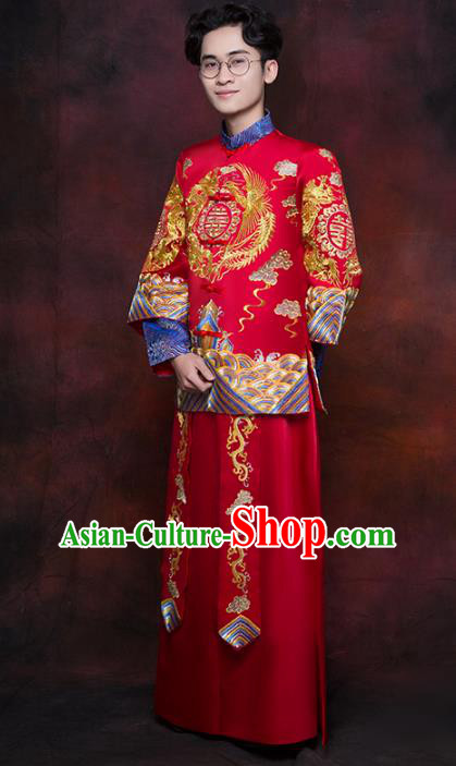 Chinese Traditional Wedding Costume Ancient Bridegroom Embroidered Tang Suit Toast Clothing for Men
