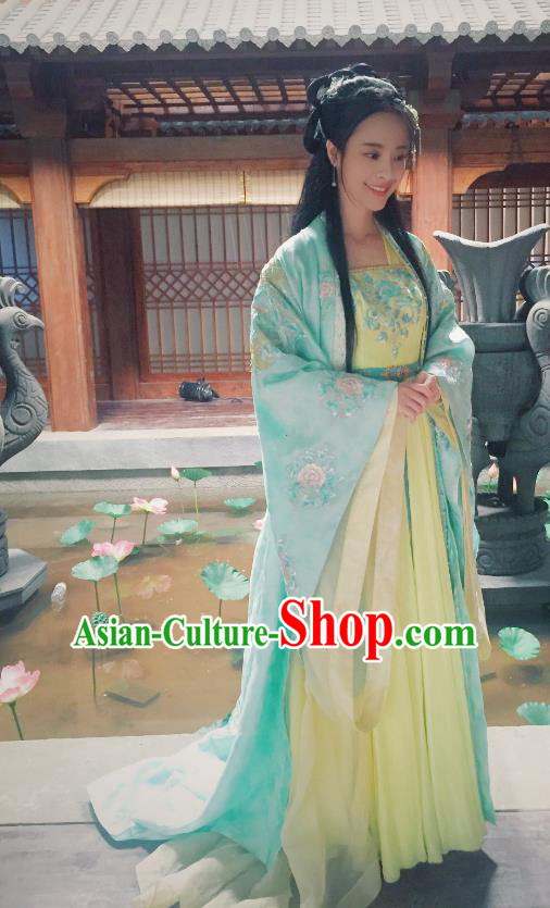 Chinese Ancient Northern and Southern Dynasties Nobility Lady Hanfu Dress Replica Costumes for Women