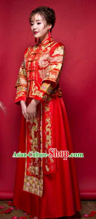 Chinese Traditional Wedding Bottom Drawer Ancient Bride Costume Embroidered Xiuhe Suit Full Dress for Women