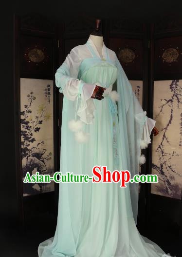 Chinese Ancient Princess Green Hanfu Dress Tang Dynasty Imperial Empress Embroidered Costume for Women