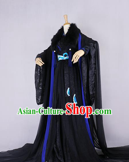 Chinese Ancient Knight-errant Royal Highness Embroidered Costume Swordsman Black Clothing for Men
