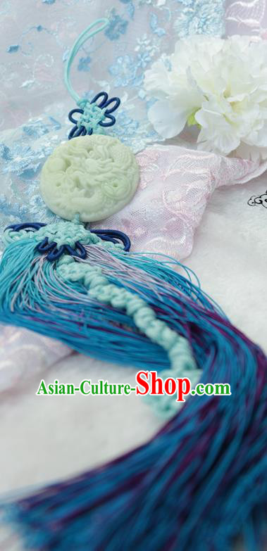 Chinese Traditional Handmade Waist Jewelry Accessories Ancient Princess Blue Tassel Jade Pendant for Women