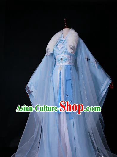 Traditional Chinese Princess Embroidered Costume Ancient Han Dynasty Imperial Concubine Blue Hanfu Dress for Women