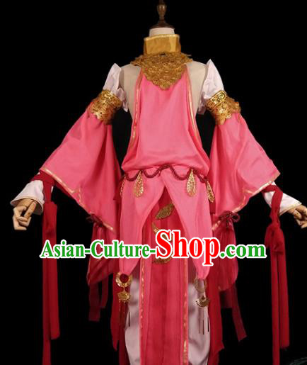 Chinese Ancient Cosplay Swordswoman Pink Hanfu Dress Han Dynasty Female Knight-errant Costume for Women