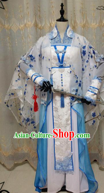 Chinese Ancient Cosplay Swordswoman Hanfu Dress Ming Dynasty Heroine Embroidered Costume for Women