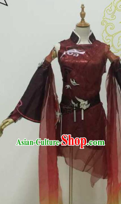 Chinese Ancient Cosplay Swordswoman Hanfu Dress Ming Dynasty Heroine Embroidered Costume and Boots for Women