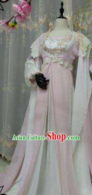 Chinese Ancient Cosplay Swordsman Pink Hanfu Dress Tang Dynasty Princess Costume for Women
